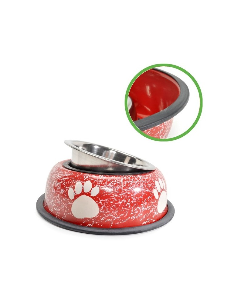 Red Steel bowl with printed paws