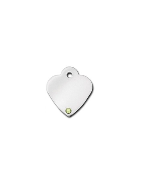 Heart ID Tag Small with Peridot Stone - August